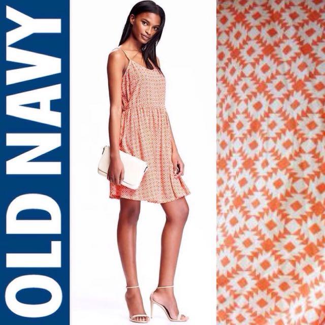 Old Navy Cami Dress Orange Motif
