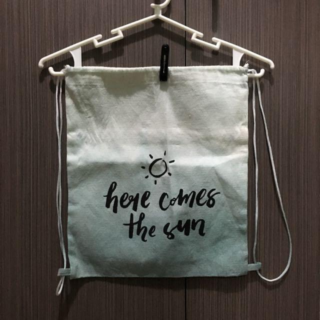 Ombre Canvas Drawstring Bag