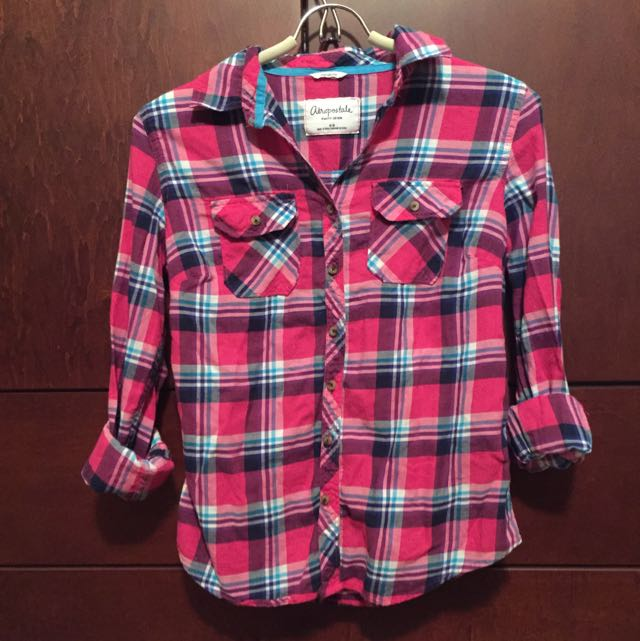 Pink And Blue Plaid Shirt