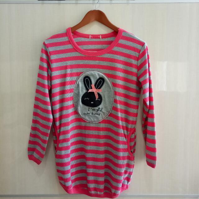 Pink Stripes Long Sweater