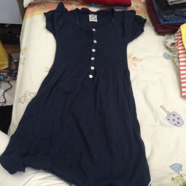 Pull And Bear Knitted Navy Blue Dress