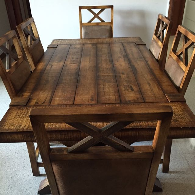 rubber wood dining table with 6 chairs furniture on carousell