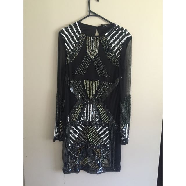 Sequin Embellished Mesh Sleeved Dress
