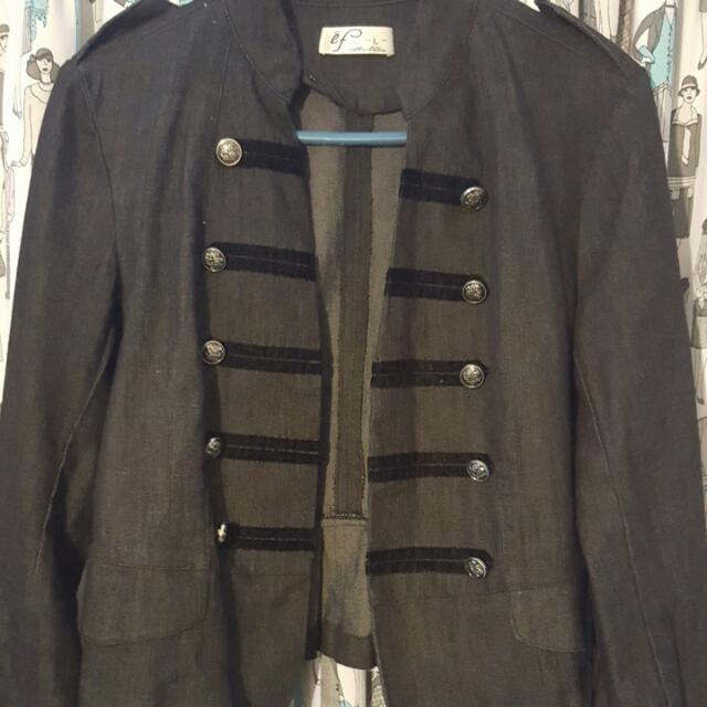Size L Denim Military Style Jacket