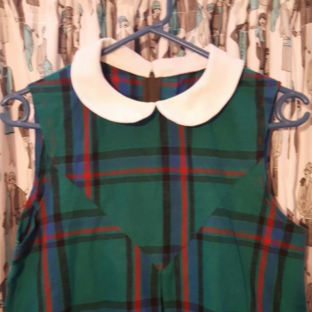 Small Green Tartan Hand Made Mod Dress
