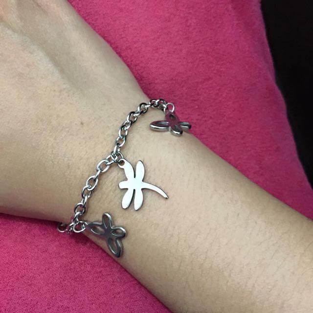Stainless steel bracelet - butterflies&dragonflies