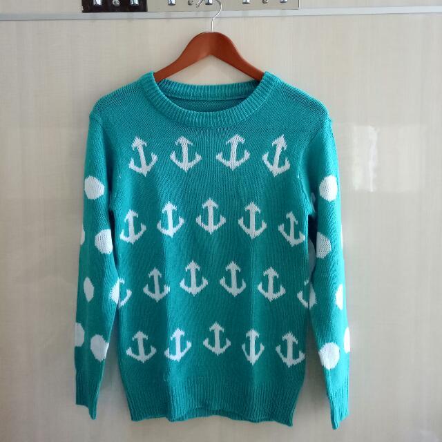 Sweater Polkadot Jangkar Hijau