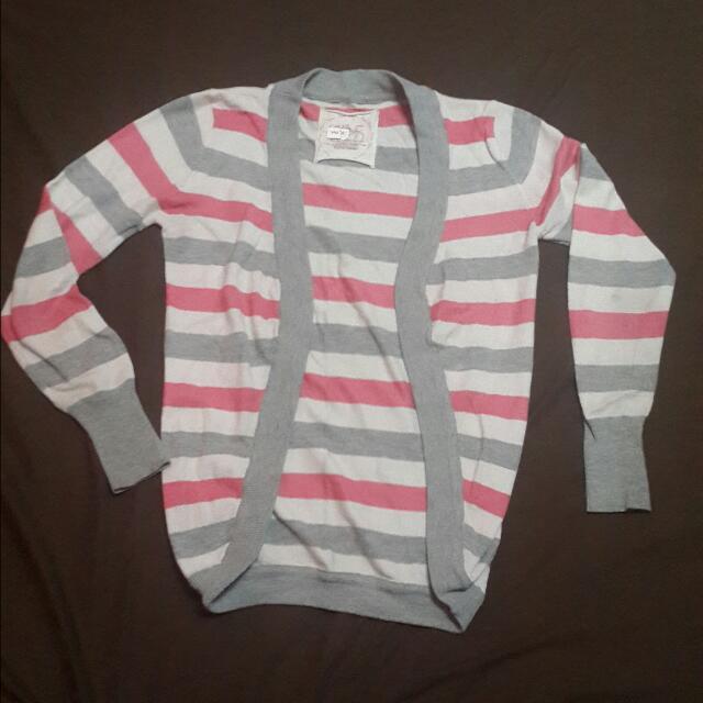 Sweater Stripe Pink Abu Putih