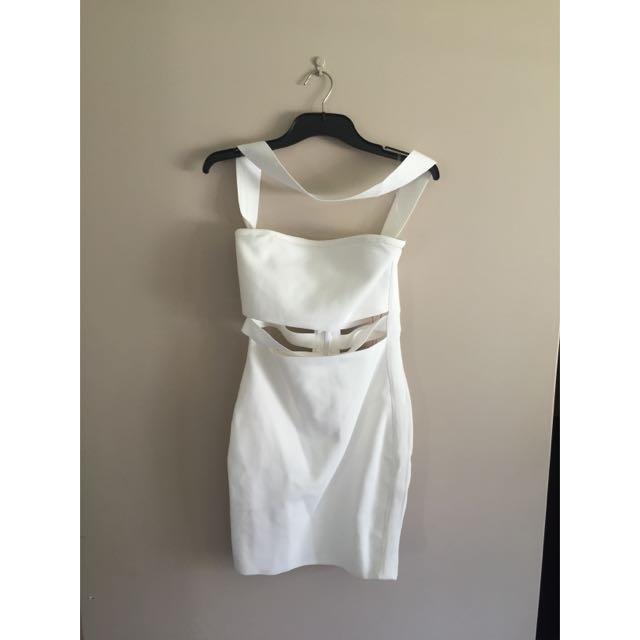 White Strapped Bandage Dress