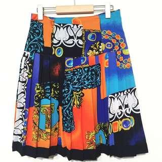 👒古著 日本帶回 華麗復古印花 百褶 古著裙