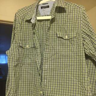 Green Squares Shirt - Size M - Nautica