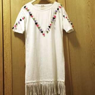 小流蘇配飾白色長版上衣