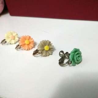 花系列耳夾式耳環