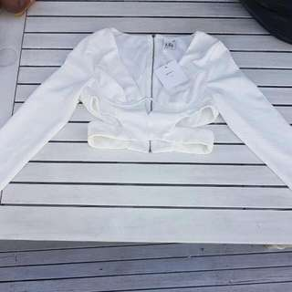 Long Sleeve White Crop Cut Out Sz 10