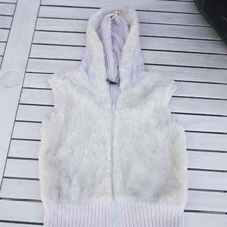Faux Fur And Wool Hoodie Vest