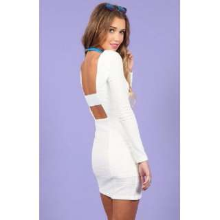 HIGH NECK WHITE RIBBED PATTERNED LONG SLEEVE DRESS - SIZE XS | FITS 6 - 8 S