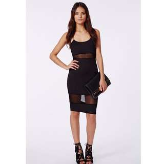 MISSGUIDED BLACK MESH PANEL STRAPPY MIDI DRESS SIZE 10 FITS 8 S - SOLD OUT!