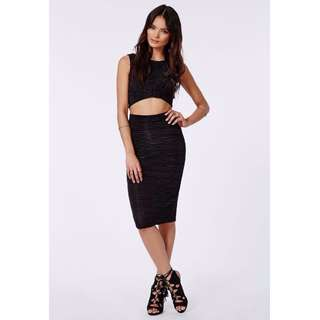 MISSGUIDED BLACK CARLAR PLEATED BODYCON MIDI SKIRT - SIZE 10 M