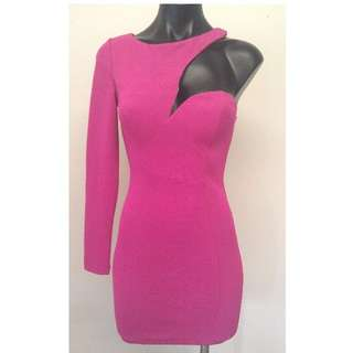 PINK ONE SHOULDER SLEEVE BODYCON PARTY DRESS AVAILABLE IN SIZES 6, 8, 10 OR 12