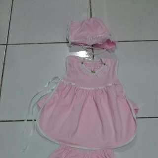 1set Baju Dress Pink Bayi 0-3m