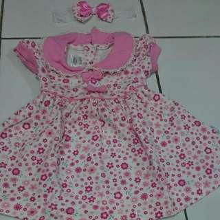 1set Duck Duck Dress Bayi Pink Bunga 0-6m