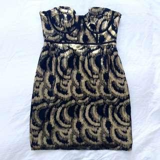 Metallic Strapless Mini Dress
