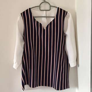 Pinstriped Long Sleeve Top