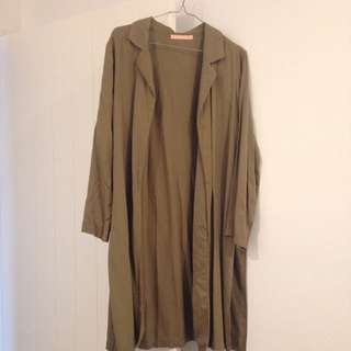 Long Khaki Coat With Side Splits