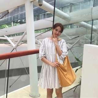 現貨不用等/韓國訂單小復古顯氣質圓領五分袖連衣裙女別緻韓風B72
