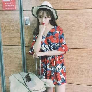 韓國大花朵連身褲🌺 2016夏韓寬鬆復古V領收腰顯瘦連體褲大花朵喇叭袖連衣褲