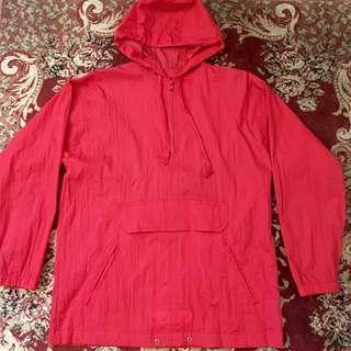 紅色半拉鍊風衣外套 古著 防風防潑水