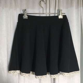 Lace Trim Skater Skirt