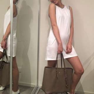 White Jersey Shift Dress Size XS