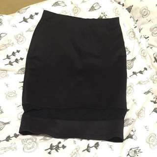 Temt Black Pencil Skirt With Mesh