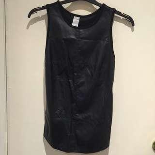 Kmart Faux Leather Long Sleeveless Shirt