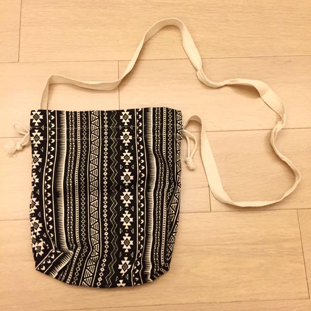 泰國帶回圖騰民俗風束口帆布包