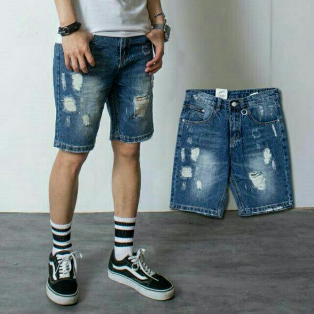 潑漆抓痕刷色牛仔短褲