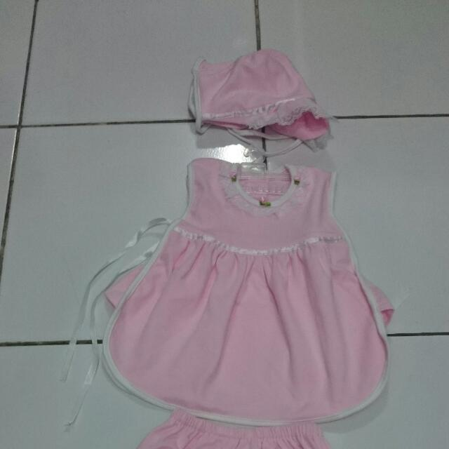 1set Baju Dress Pink Bayi 0-3m