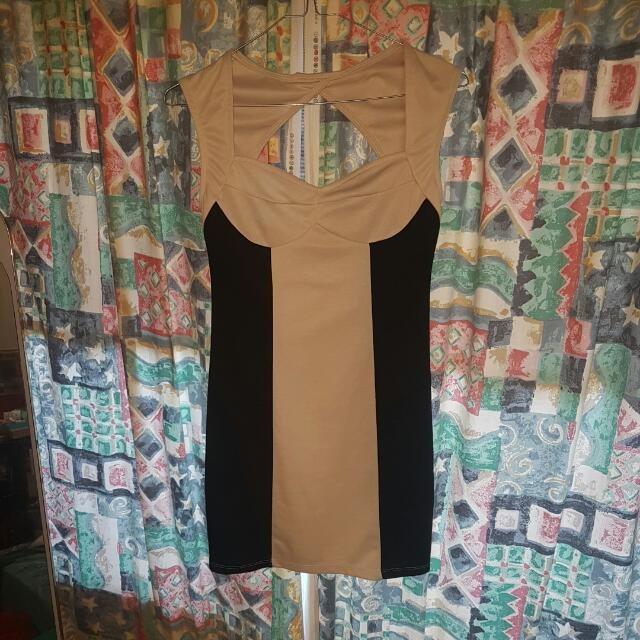 Beige & Black Pencil Dress