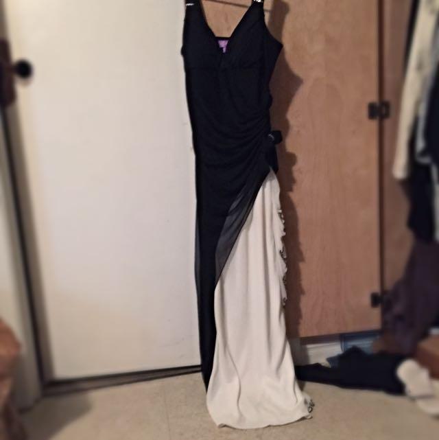 Black And White Floor Length Dress