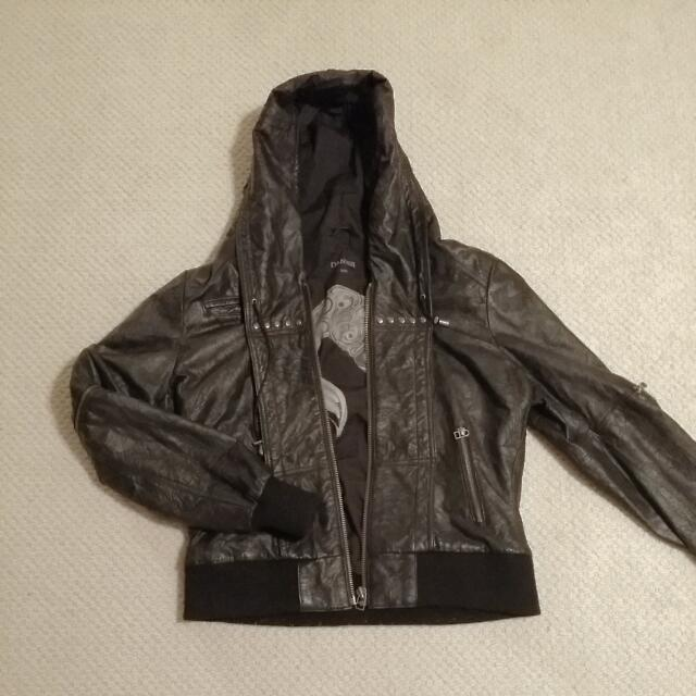 Black Hooded Danier Leather Jacket XL
