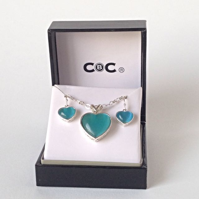 Blue Heart Necklace and Earring Set