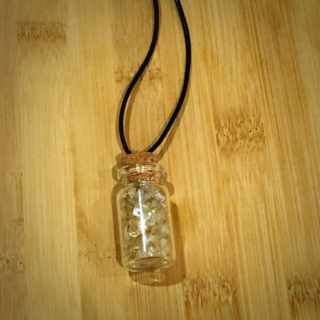 Crystal Pendant Necklace (Yellow/Clearish)