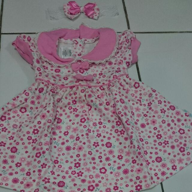 1set Duck Duck Dress Bayi Pink Bunga 0-6m