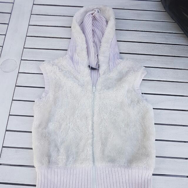 Faux Fur And Wool Hoodie Vest