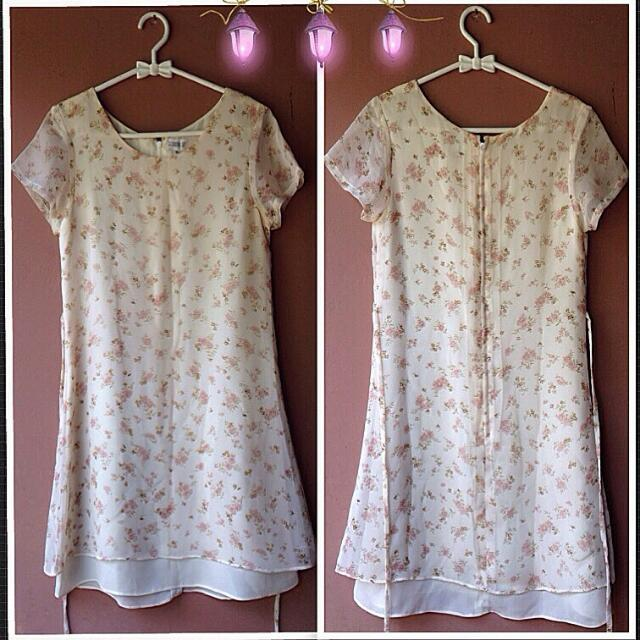 Flowery Dress Gaun Motif Bunga