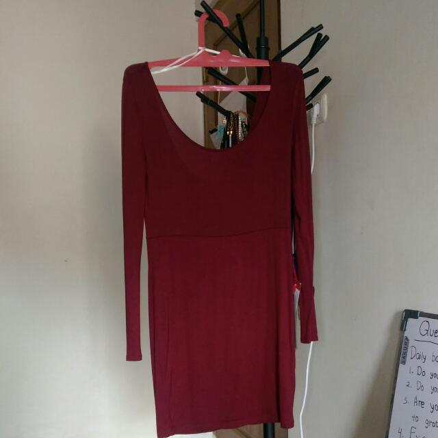 Forever 21 Bodycon Maroon Long Sleeve Dress Size L