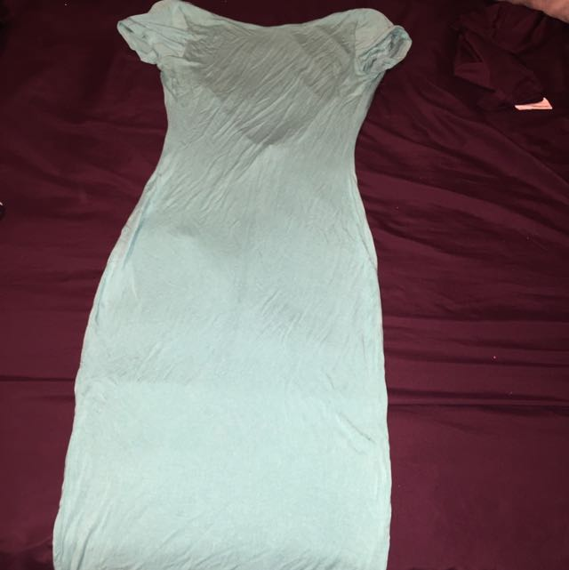 Form Fitting Baby Blue Summer Dress With Low Cut Back