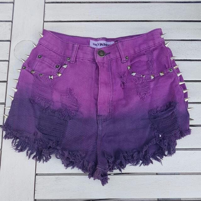 High Waisted Purple Shorts Sz 8