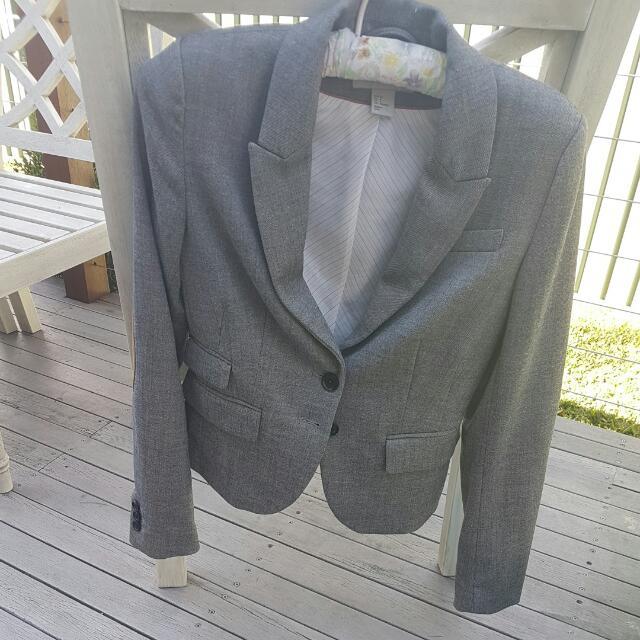 H&M Elbow Patch Blazer In Grey